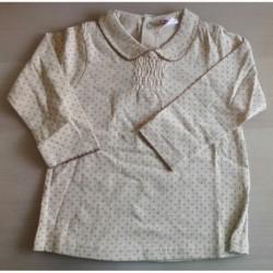 Blusa cuello bebé y estampado topitos-ALM-BGI01334
