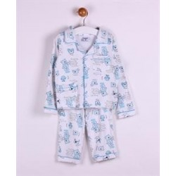 Pijama largo 2 piezas algodón con botones estampado-ALM-JBI01123