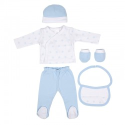 Set regalo bebe 5 piezas 100% algodón modelo estrellas talla única-ALM-SET05-Interbaby