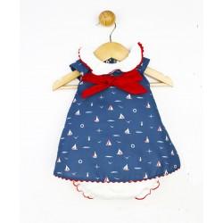 Comprar ropa de niño online Conjunto vestido braguita, marino