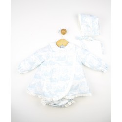 Conjunto bebé vestido manga larga, cubrepañal y capota 23254 Popys