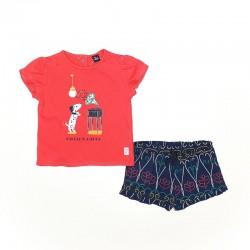 Conjunto corto algodón niña: camiseta manga corta y pantalón